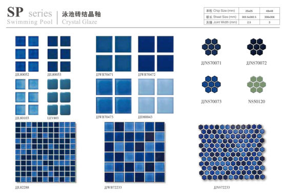 wholesale price wave surface blue ceramic mosaic swimming pool tiles for sale