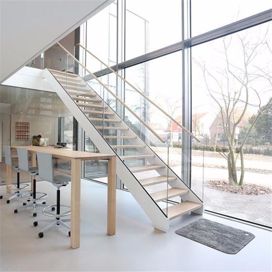China Indoor Outdoor Straight Staircase Solid Wood Steps Stairs | Glass Staircase Panels Near Me | Modern Staircase Railing | Tempered Glass | Wood | Stair Balustrade | Stair Case