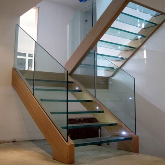 China Hot Sale Stainless Steel Straight Staircase With Solid Wood | Wood Steps For Sale | Wood Hand | Home | Design | Non Slip | Platform