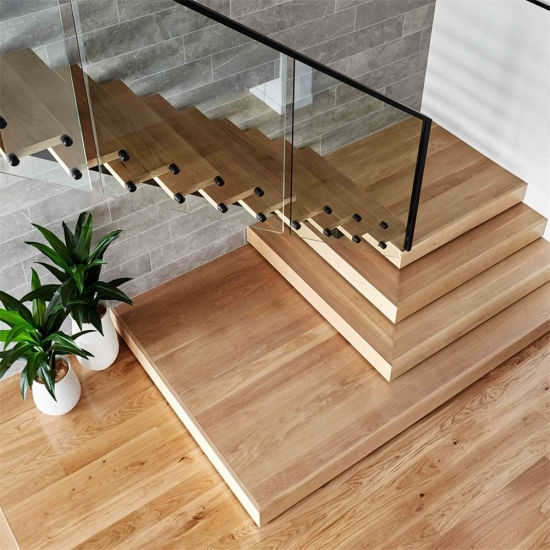Natural Prefinished White Oak Wood Tread Staircase China | White And Wood Stairs | Non Slip | Foyer | Simple | Solid Wood | Indoor