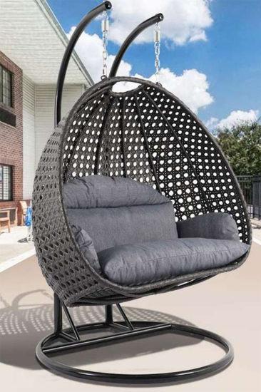 swinging canopy hammock outdoor indoor restaurant double seat garden patio rattan egg swing chair with stand