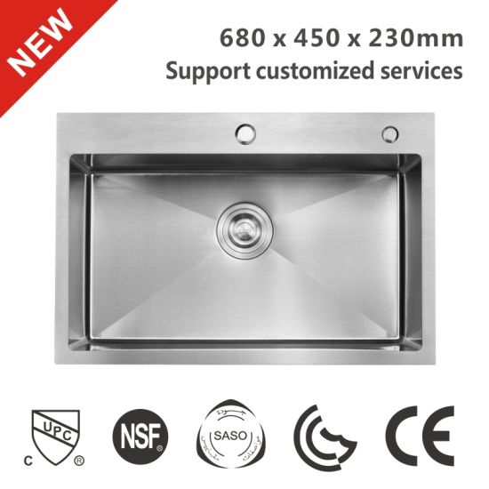 best selling layon or insert edge pressed kitchen sinks single with drainboard sink prices cheap without clips 6845