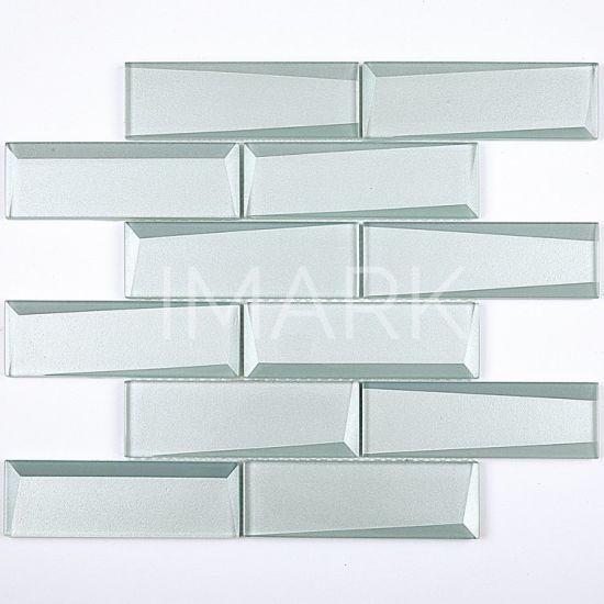 aqua crystal subway glass mosaic