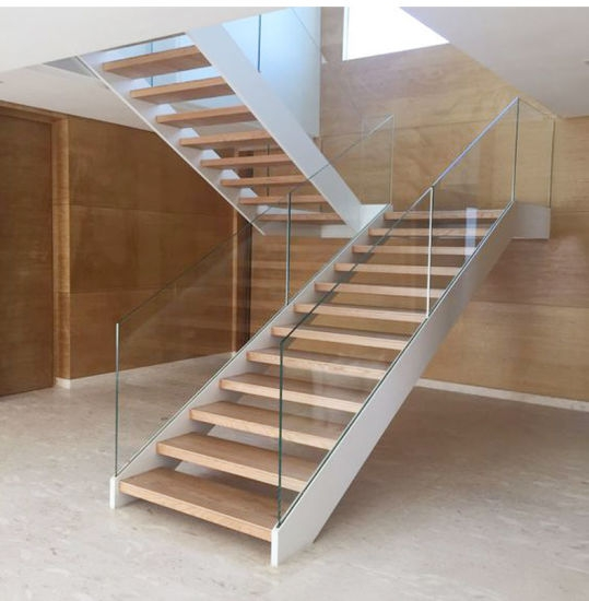 China White Painted Steel Stairs With Solid Wood Steps St003   White Wood And Glass Staircase   Design   70'S   Thick Solid Oak Stair   Bannister   Indoor Glass