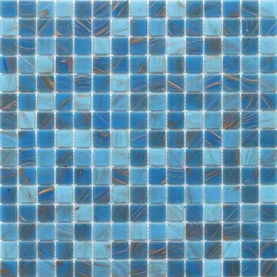 navy blue iridescent swimming pool tile glass mosaic