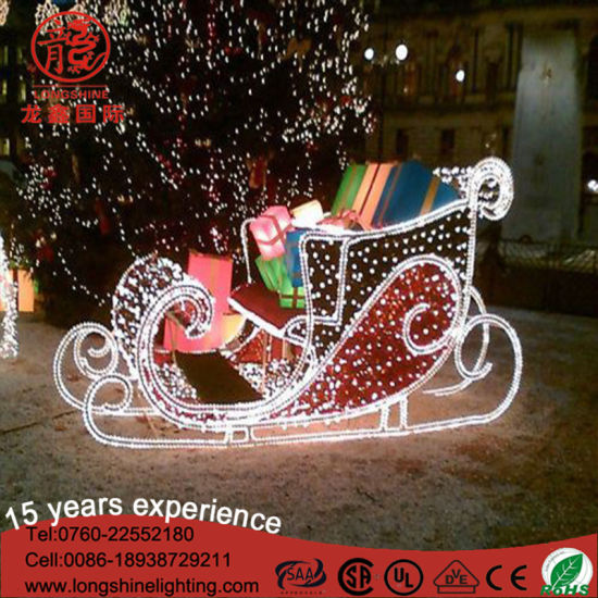 White Large Outdoor 2d Decoration Father Sleigh Christmas Motif Reindeer Light