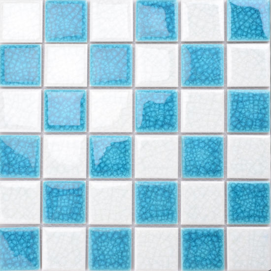 white mixed crack blue ceramic mosaic