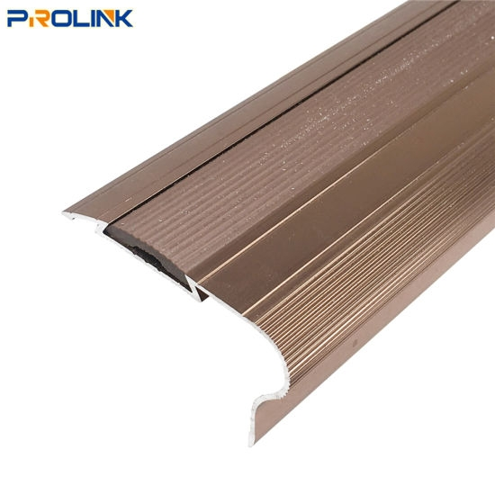 China Polish Finish Decorative Flexible Aluminum Stair Nosing With | Decorative Rubber Stair Treads | Modern Exterior Stair | Pattern | Pie Shaped | Abrasive | Dark Wood Step