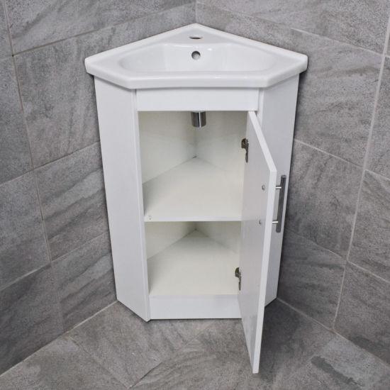 corner vanity unit including basin sink white gloss cloakroom unit