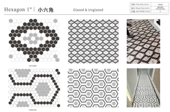 1 glossy and matte black dot hexagon mosaic ceramic floor tile wholesale