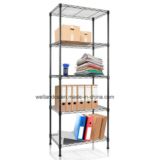 small size 5 shelf black open metal