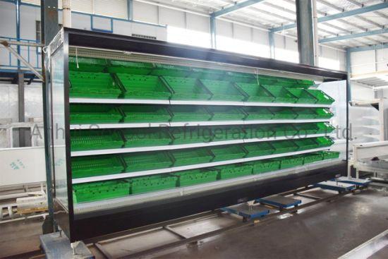 supermarket open vertical air curtain merchandiser refrigerator