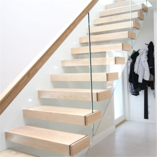 Invisible Stringer Wooden Floating Staircase Tempered Glass Panel | Stair Railing Glass Panel | Tempered Glass | Wood | Stainless Steel Railing Systems | Base Shoe | Aluminum