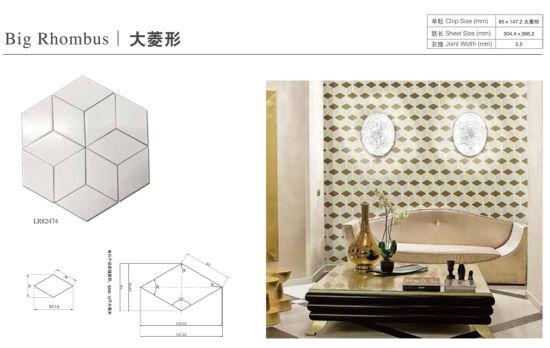black white rhombus geometric pattern porcelain mosaic tile for home livingroom floor wall decor