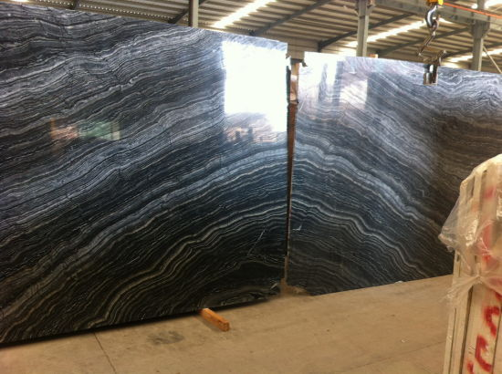 china bookmatch black wood marble slab