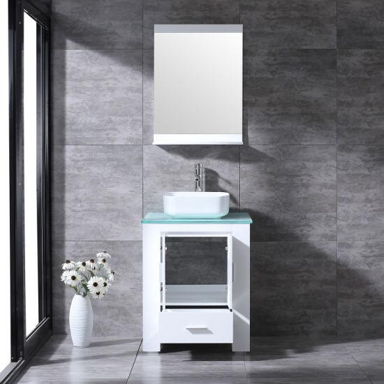 24 wood bathroom vanity cabinet ceramic vessel sink glass top w faucet mirror