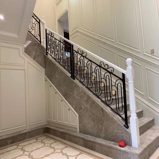 Luxury Design Indoor Fencing Staircase Balustrade Wrought Iron | Iron Stair Railing Indoor | Cast Iron Balusters | Railing Kits | Interior Wrought | Rod Iron | Wood