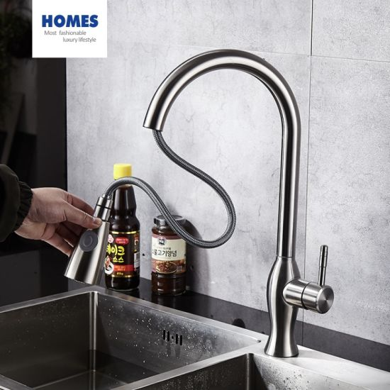 commercial single handle high arc brushed nickel pull out kitchen faucet stainless steel sus304 kitchen sink faucet tap with pulldown sprayer with