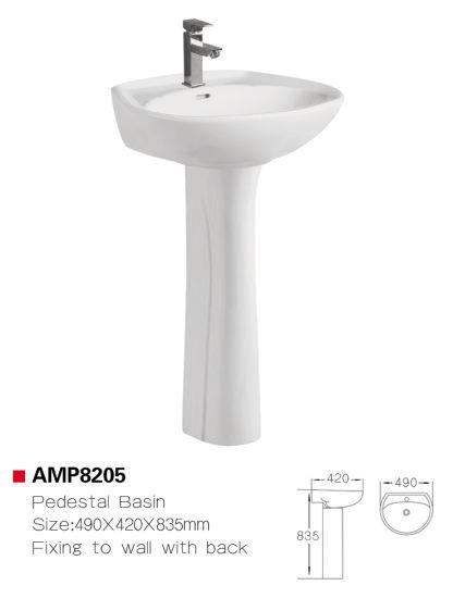 amp8205 bathroom pedestal sink ceramic basin