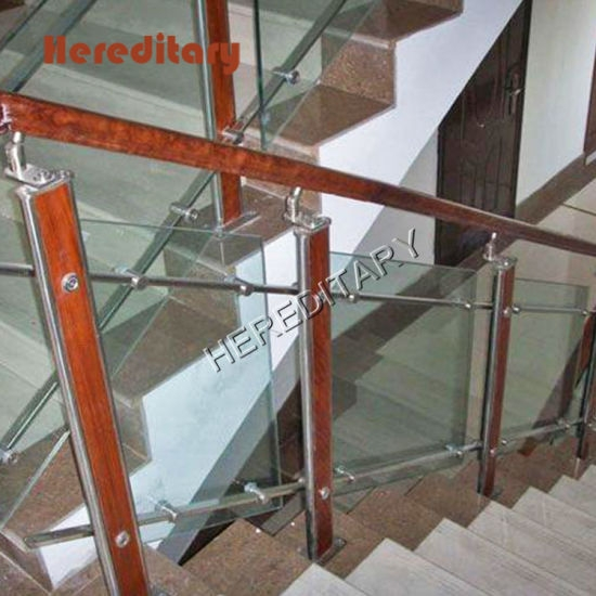 Modern Design Stainless Steel Wood Glass Balustrade In Stair Parts   Staircase Railing Designs In Wood And Glass   Frosted Glass   Low Cost   Stair Handrail   Wooden   Solid Wood