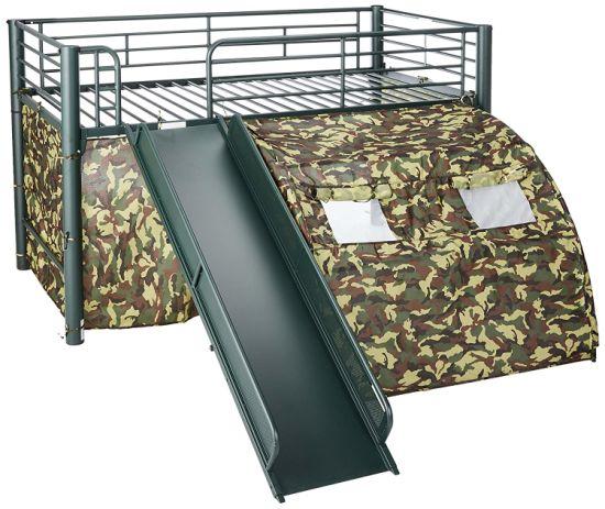 chine lit lofted avec toboggan et tente