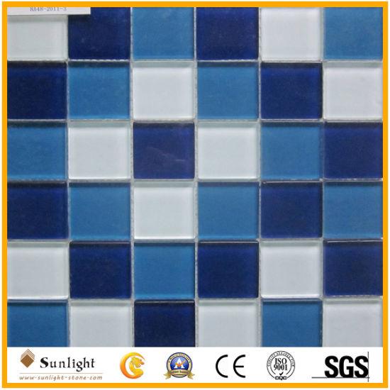 bleu blanc carrelage mural