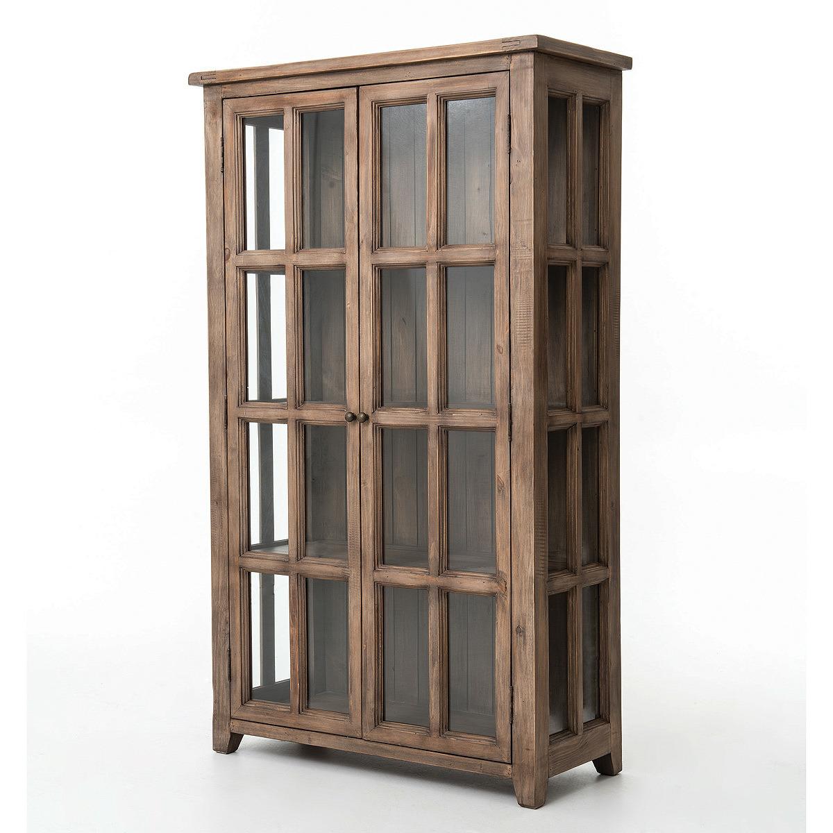 Hot Item Kvj Ca10 Storage Rustic Reclaimed Wood Bookcase Cabinet With Glass Door
