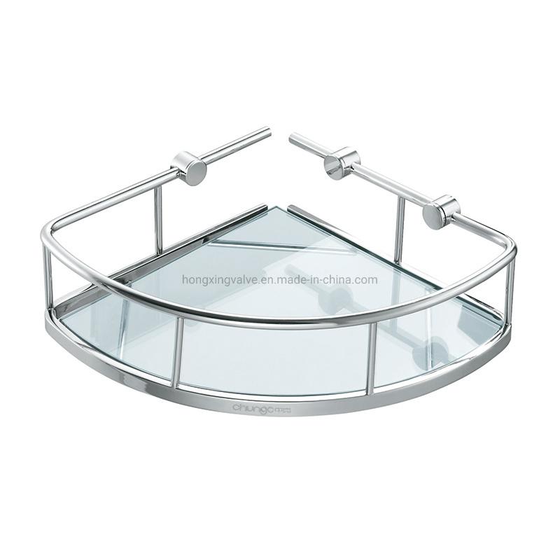 hot item glass dish corner wall mounted triangle brass bathroom soap basket