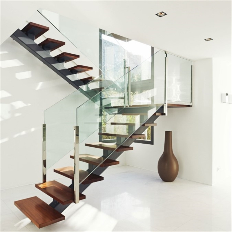 China Single Center Beam Straight Wood Staircase Glass Stair With   Staircase Handrails With Wood And Glass   Tempered Glass   Glass Panel   Wooden   Glass Printing   Solid Wood