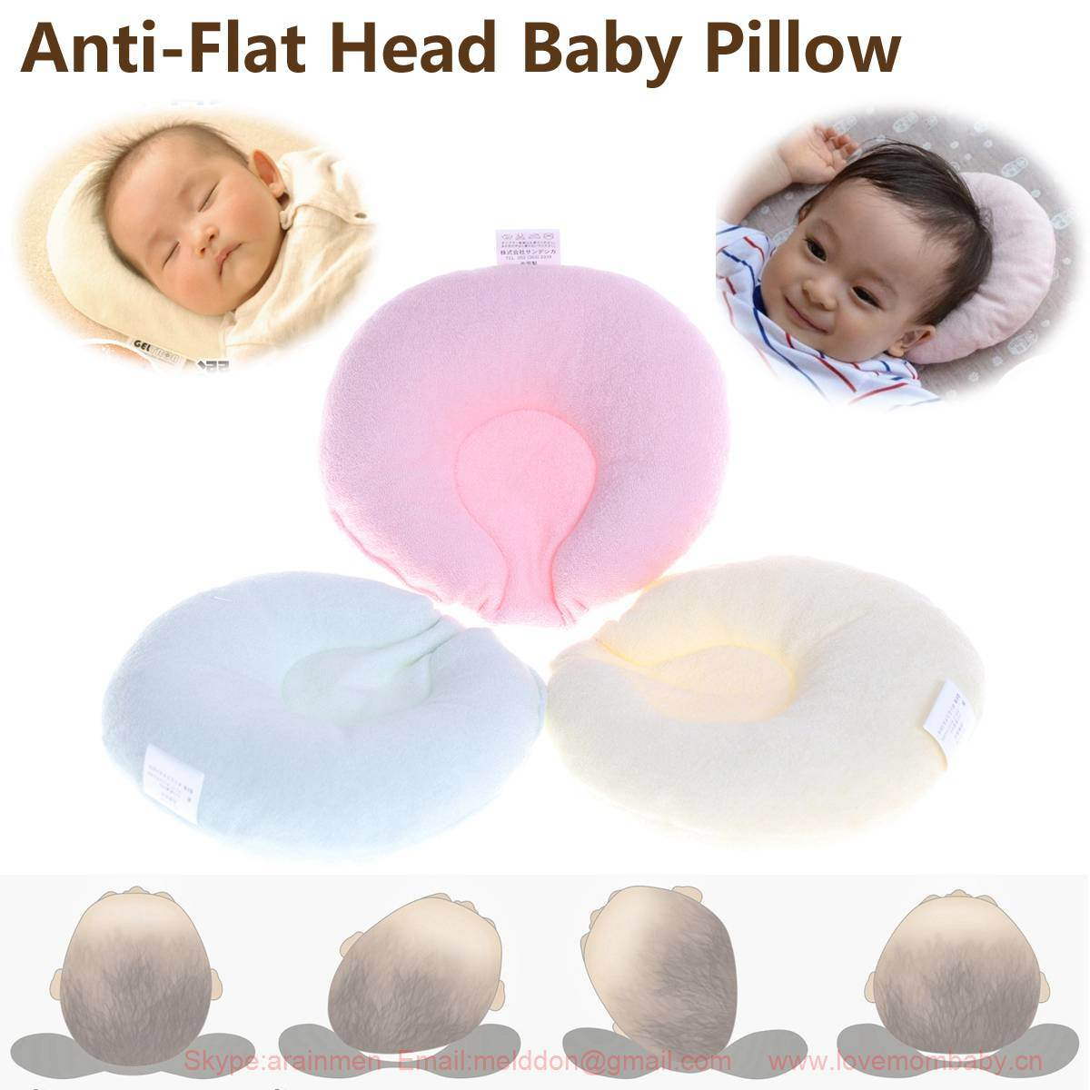 hot item sandexica newborn infant baby pillow support cushion anti flat head soft cotton
