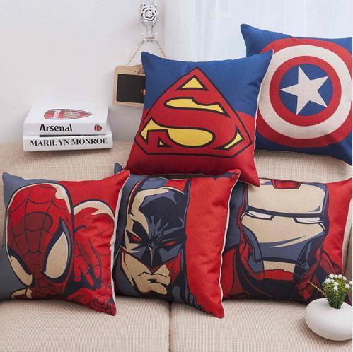hot item marvel heroes spiderman ironman superman sofa pillow case cover the avengers cartoon print chair seat waist cushion covers