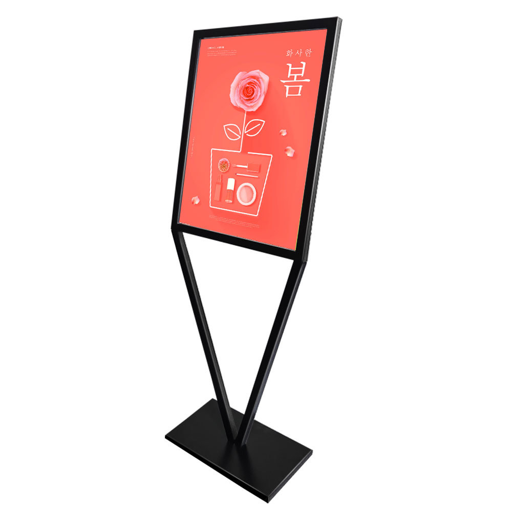hot item floor standing poster display stand sign holder black iron double sided advertising poster metal display stand holder landing rack