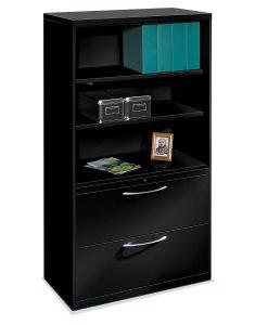 Hot Item Black Color 2 Drawer 2 Shelf Lateral File Storage Cabinet