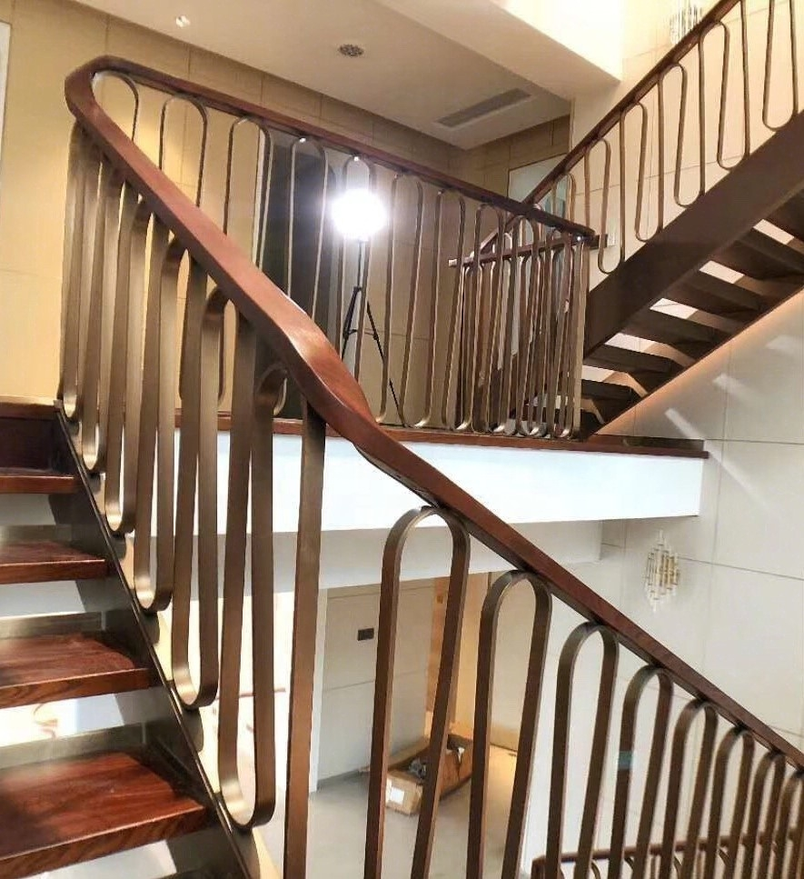 China Factory Price Contemporary Indoor Staircase Interior Stair | Contemporary Railings For Interior Stairs | Minimalist | Ultra Modern | Mid Century Modern | Metal | Wood