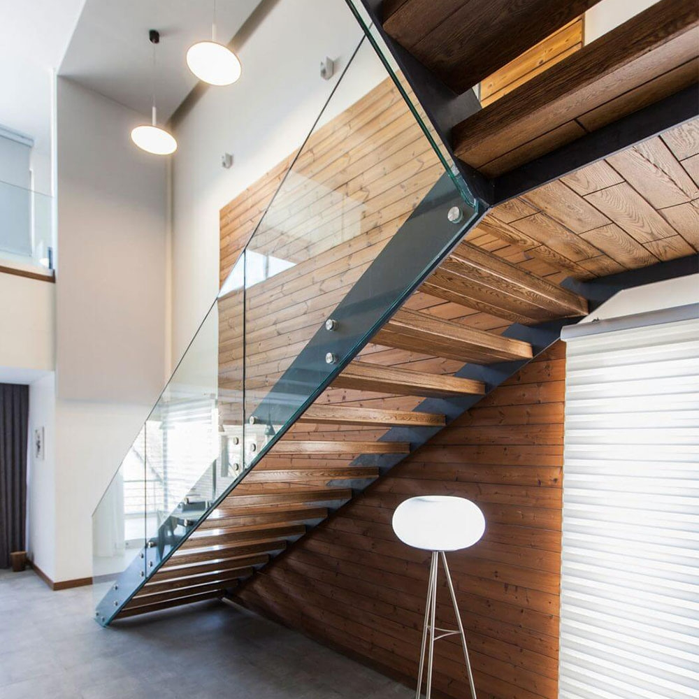 China Low Cost Steel Plate Stringer Straight Glass Stair With   Glass Balustrade Staircase Cost   Tempered Glass Panels   Stair Treads   Oak Staircase   Curved Glass   Stainless Steel