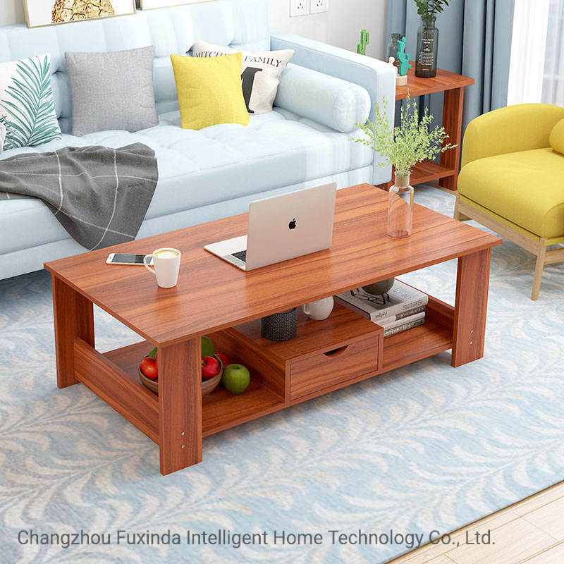 hot item wooden simple home double layer coffee table