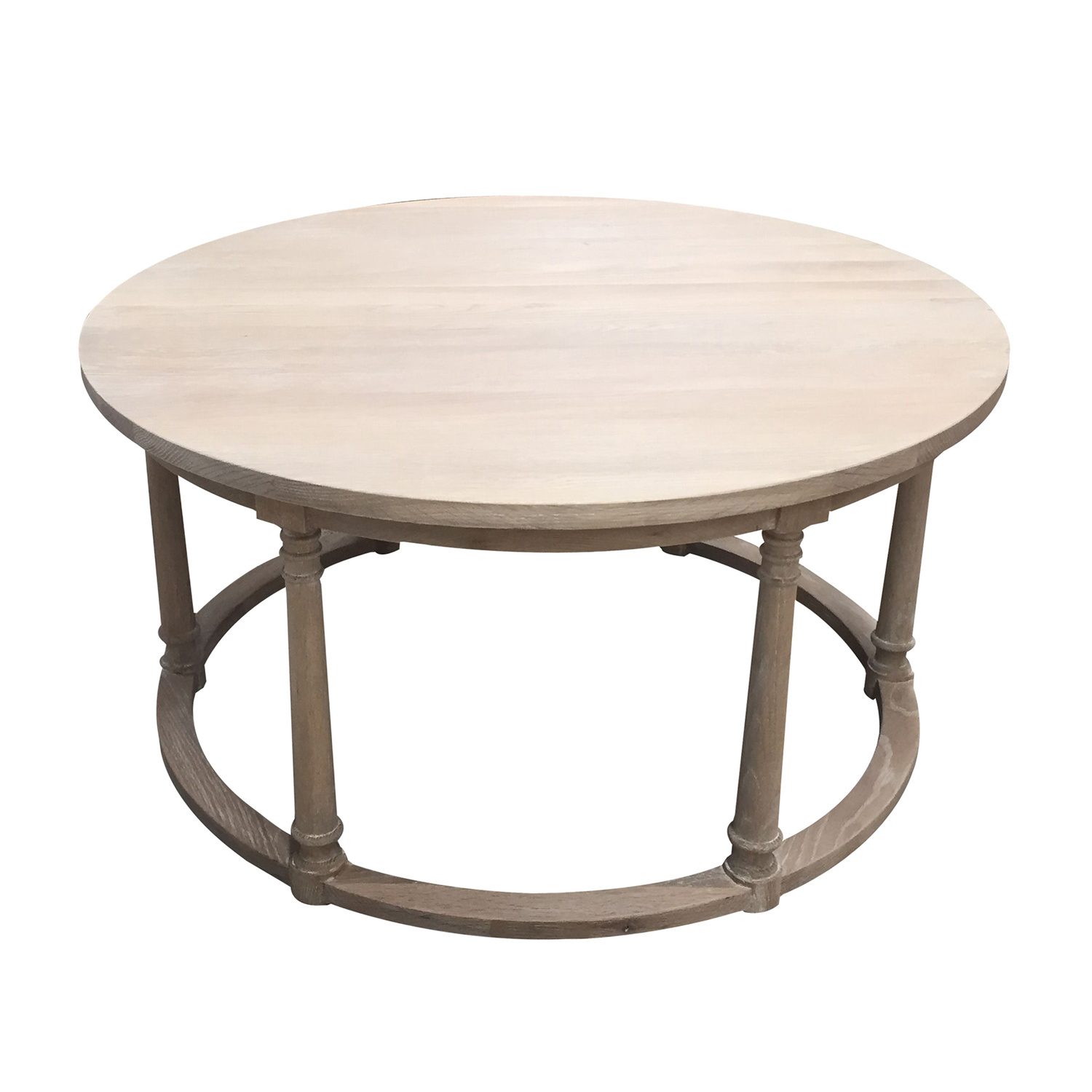 china round washed oak top wooden