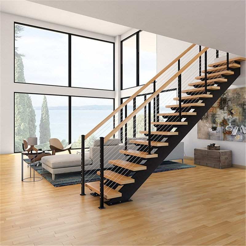 China Wire Railing Straight Steel Wood Stairs Design Double Beam | Steel And Wood Staircase | Glass | Custom | Handrail | Contemporary | Inside