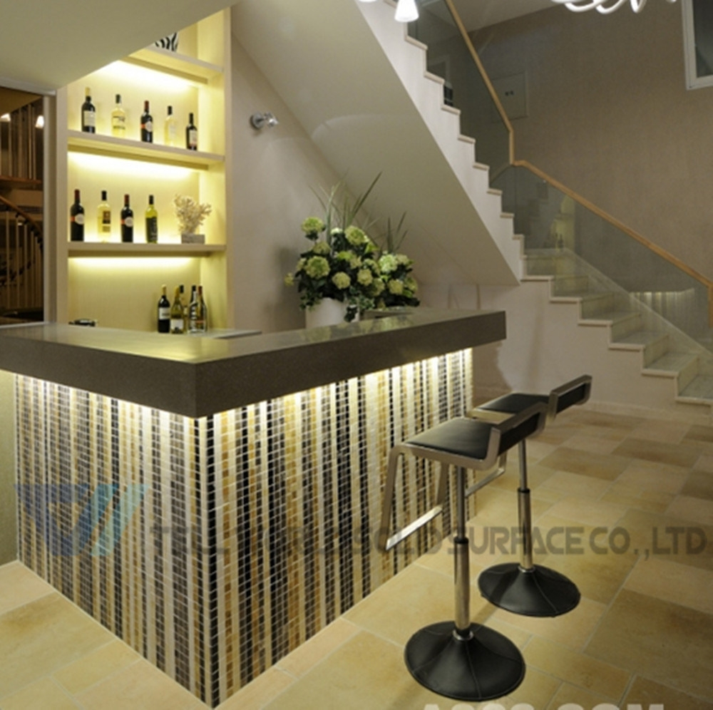 China White Glossy Home Wine Mini Marble Juice Bar Counter China | Mini Bar Design Under Stairs | Stairs Cupboard | Basement Remodeling | Wine | Storage | Basement Stairs Ideas