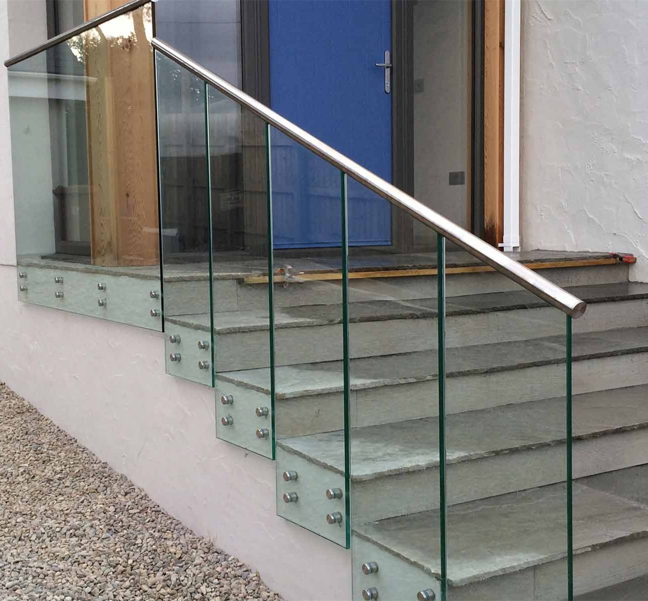 China Outdoor Stainless Steel 316 Staircase Glass Railing With | Outside Stair Railing Installation | Rail | Simple | Staircase | Back Porch | Sunroom