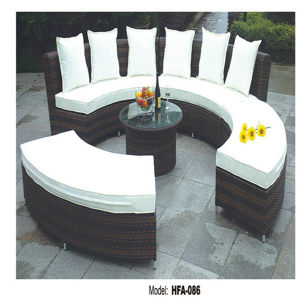 wicker semi circle sectional sofa set