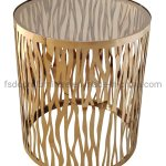 China Customized Laser Clear Glass Round Gold End Table Lamp Small Table China Side Table Customized End Table