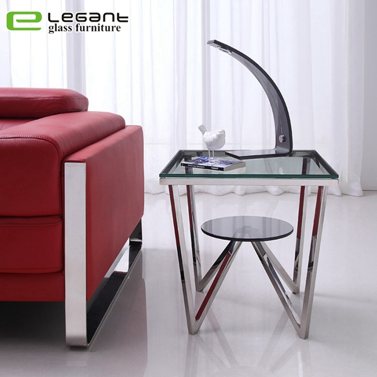 small square tempered glass side table