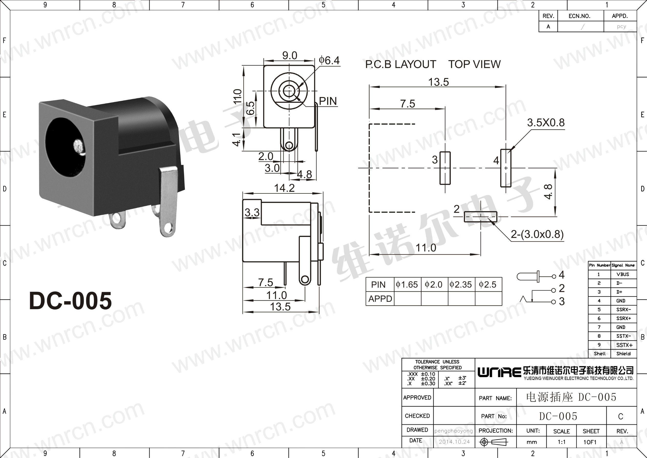 China Wnre Female Dc Jack Dc 005 2 1mm Dc Power Jack