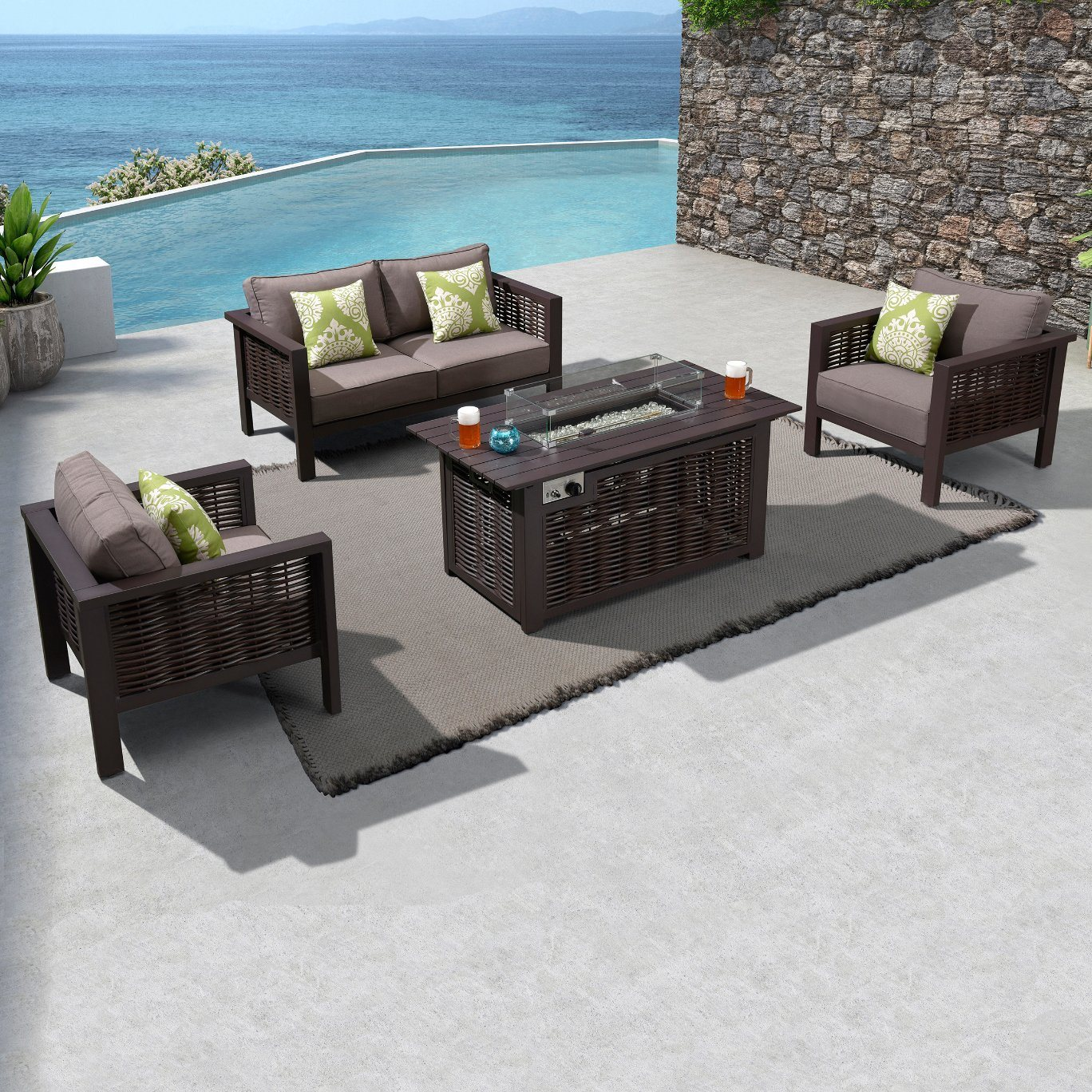 china outdoor sectional couch brown