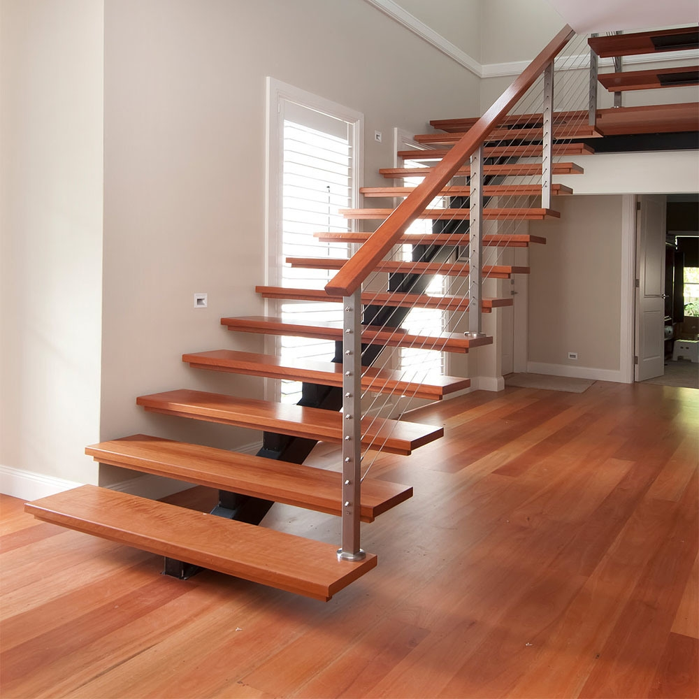 China House Straight Stair Indoor Wooden Tread Glass Railing   Railings Stairs Inside House   Wood   Cable Railing Systems   Deck Railing   Glass Railing Ideas   Banister