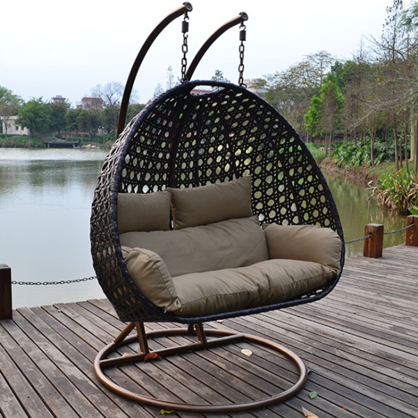 outdoor patio swing chair with stand China Outdoor Rattan Wicker Cane Hanging Swing Chair