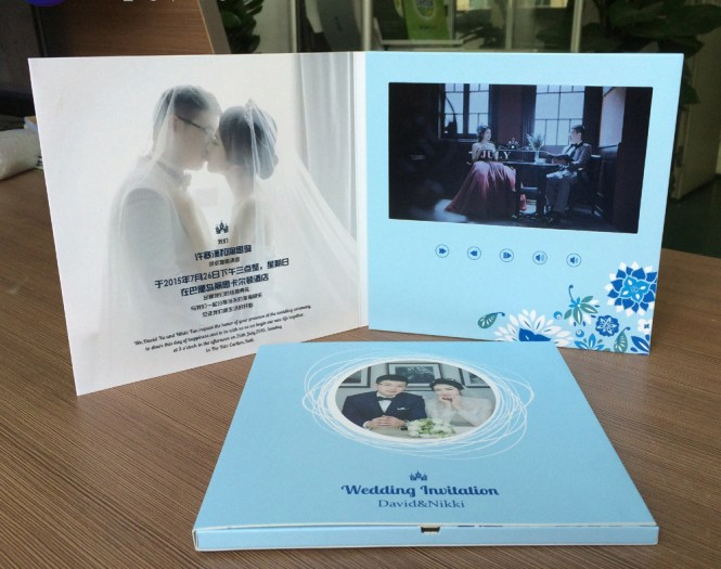 Video Lcd Wedding Invitation Card For