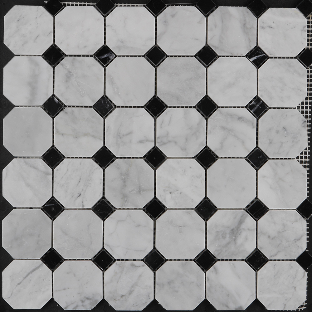 china polished octagon carrara white