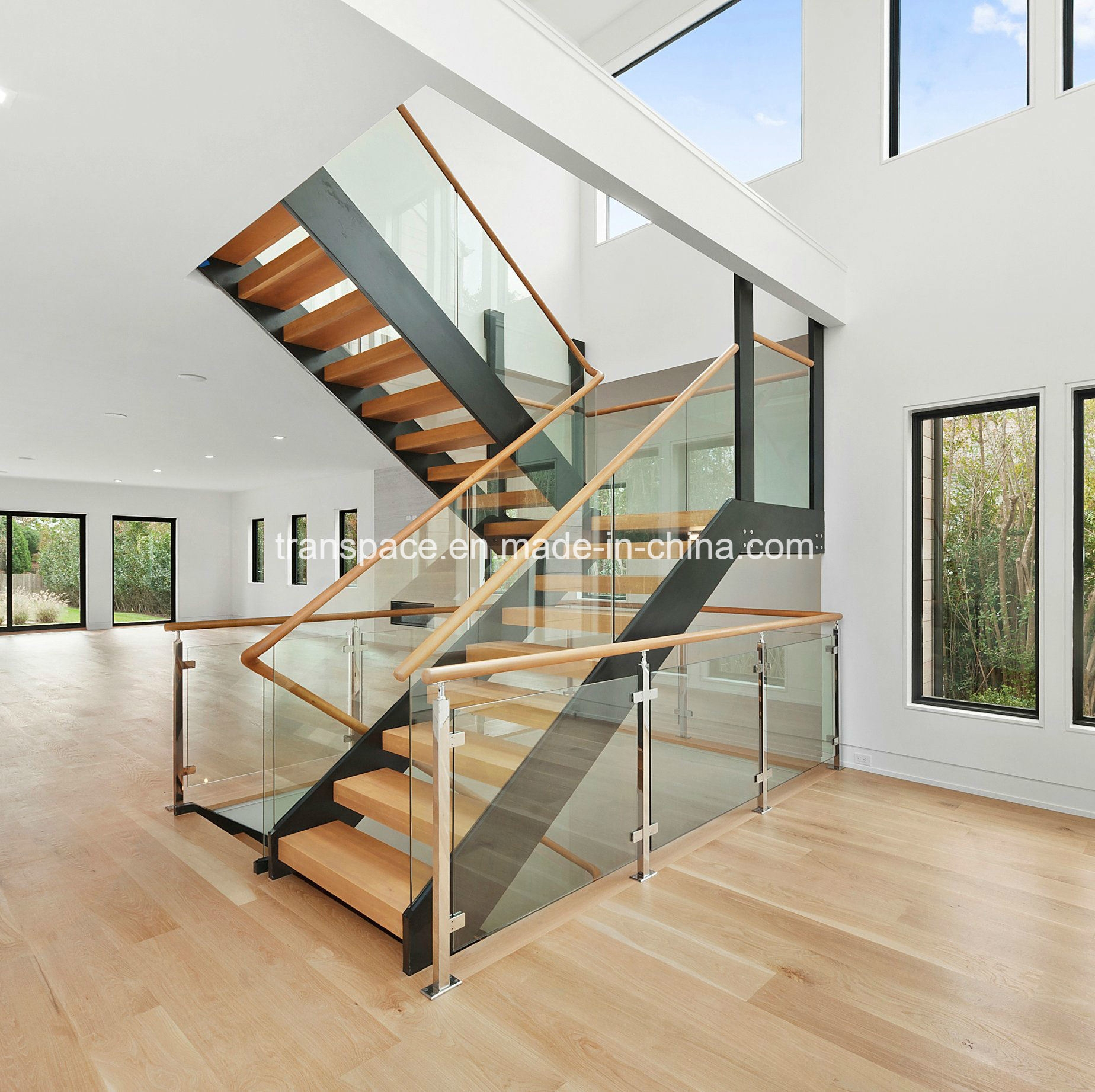 China Straight Steel Wood Stair With Tempered Glass Railing   Wood And Glass Staircase   New   Spiral   Stair Railing   Design   Stair Case